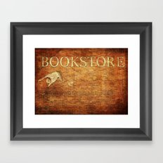 Bookstore Sign on Brick Wall Framed Art Print