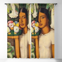 Mujer con Fiores (Bell Flowers, Dahlia & Calla Lilies) Flower Seller portrait by Alfredo Martinez Blackout Curtain