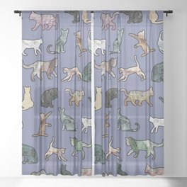 Cats shaped Marble - Violet Blue Sheer Curtain