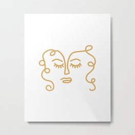 Curly Hair Don't Care - Minimalist Line Drawing Portrait of a Woman in Mustard Yellow on White Metal Print