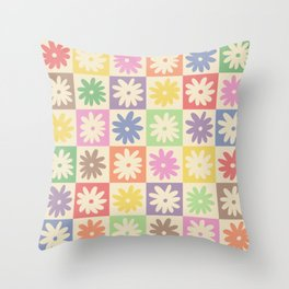 Colorful Flower Checkered Pattern Throw Pillow