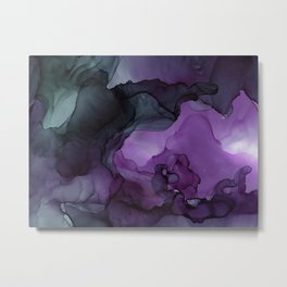 Abstract Ink Painting Deep Purple Green Metal Print