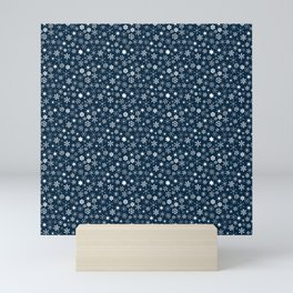 Blue & White Christmas Snowflakes Mini Art Print