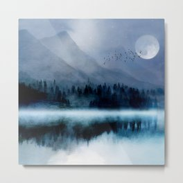 Mountainscape Under The Moonlight Metal Print