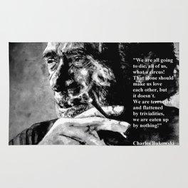 Charles Bukowski - black - quote Rug