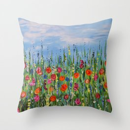 Summer Wildflowers, Landscape Art with Flowers Throw Pillow