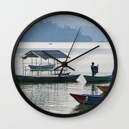 PHEWA LAKE SILHOUETTES NEPAL Wall Clock