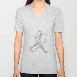 Field Hockey Player Doodle Unisex V-Neck