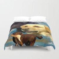 labrador Duvet Covers featuring Labrador Retrievers by Becky's Digital Art