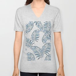 Blue Leaves Unisex V-Neck