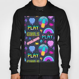 Colorful seamless pattern with patches: pineapples, hearts, etc. Black Hoody
