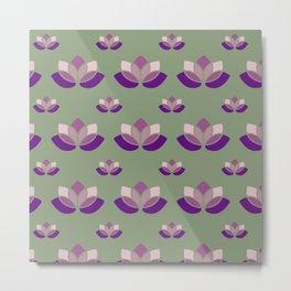 Floral Neck Gator Purple Lotus Flower Pattern Metal Print