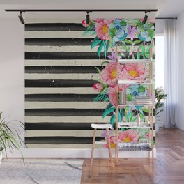 Modern stripes and tropical flowers hand paint Wall Mural