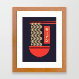 Ramen Japanese Food Noodle Bowl Chopsticks - Black Framed Art Print