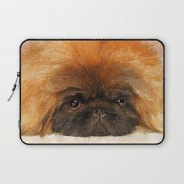 Portrait of fluffy sad Pekingese puppy Laptop Sleeve