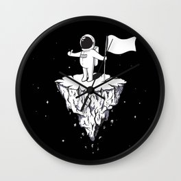 Astronaut Black with flag Wall Clock