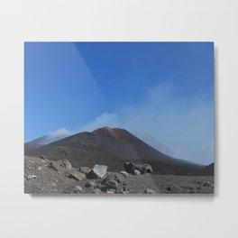 Etna Volcano Top | Sicily Italy travel photography | blue sky dark rocks Metal Print