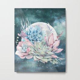Teal Succulents Full Moon Night Sky by Nature Magick Metal Print