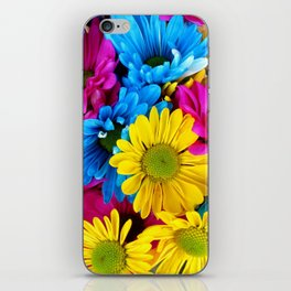 Daisy Flowers, Petals, Blossoms - Blue Yellow Pink iPhone Skin