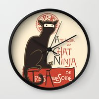 poster Wall Clocks featuring A French Ninja Cat (Le Chat Ninja) by Kyle Walters