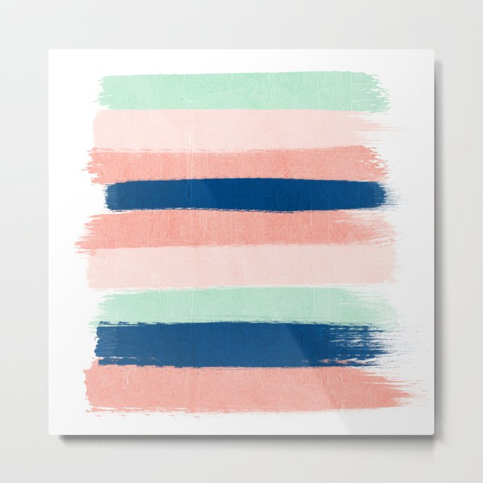 Painted stripes pattern minimal basic nursery decor home trends colorful art Metal Print