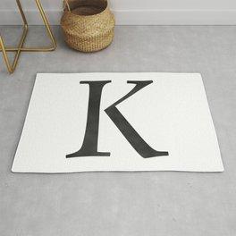 Letter K Initial Monogram Black and White Rug
