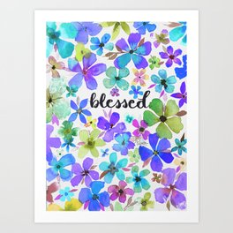 Blessed Among the Blue Flowers Watercolor Painting Art Print