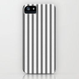 Black and White English Rose Trellis in Mattress Ticking Stripe iPhone Case