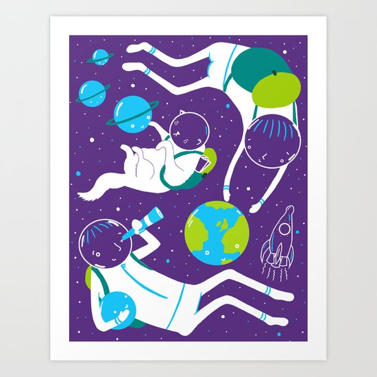 A Day Out In Space - Purple Art Print