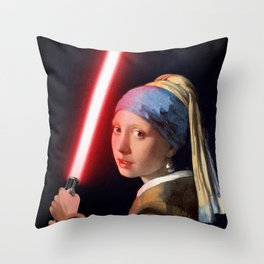 The Girl with the Lightsaber Throw Pillow