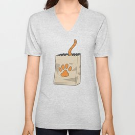 Hand Drawn Cat in the Bag Unisex V-Neck