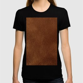 Brown fake leather texture photo T-shirt