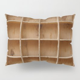 Empty wooden cabinet with cells Pillow Sham