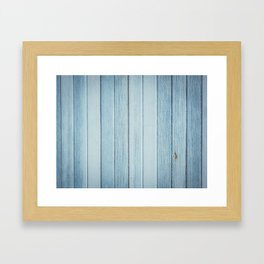 Bright blue wood timber texture wall Framed Art Print
