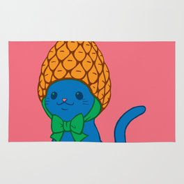 Blue Cat Wears Pineapple Hat Rug