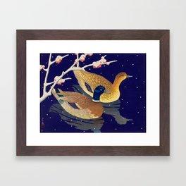 Kawase Hasui Vintage Japanese Woodblock Print Duck Lovers Blue Pond Snow Blossoms Framed Art Print