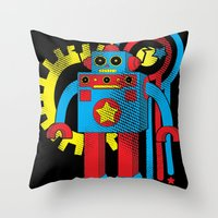 law Throw Pillows featuring Asimov's Law by Maggie Davidson