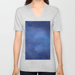 Abstract Soft Watercolor Gradient Ombre Blend 2 Deep Dark Blue and Light Blue Unisex V-Neck