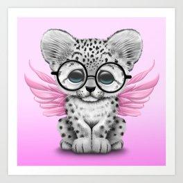 Snow Leopard Cub Fairy Wearing Glasses on Pink Art Print