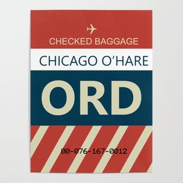 Chicago O'hare Baggage tag Poster