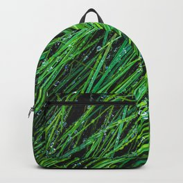 green grass texture background with water drop Backpack