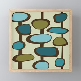 Mid Century Modern Baubles (teal) Framed Mini Art Print