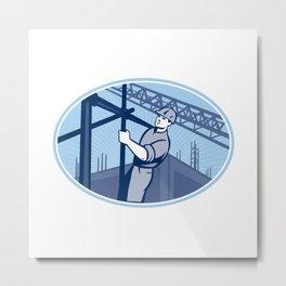 Construction Worker Scaffolding Metal Print