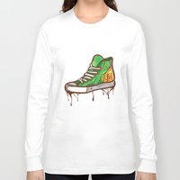 sneaker Long Sleeve T-shirts featuring Green Sneaker by ArievSoeharto