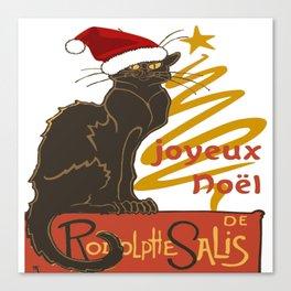 Joyeux Noel Le Chat Noir With Stylized Golden Tree Canvas Print