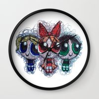 powerpuff girls Wall Clocks featuring powerpuff girls doodle/scribble by Patricia Pedroso