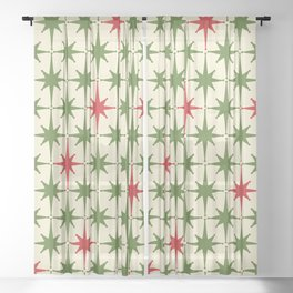 Christmas Starbursts - Atomic Age Xmas Holiday Pattern in Red and Retro Green on Cream Sheer Curtain