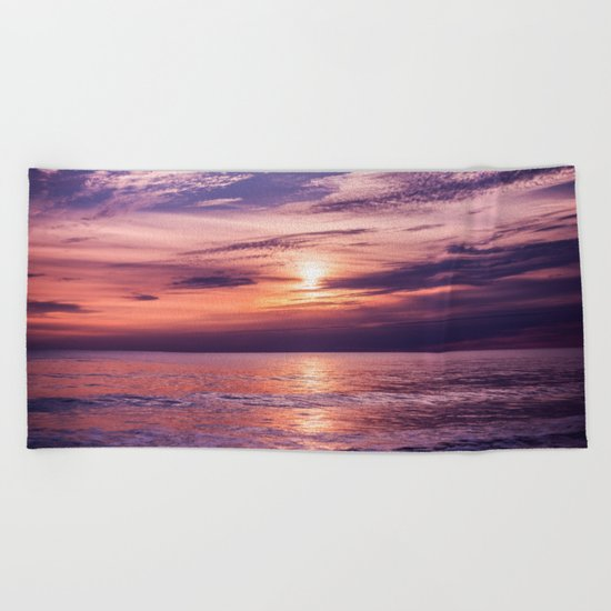 A Moving Sea Between The Shores Beach Towel