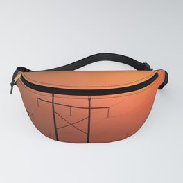 Power Line Silhouettes with a Blazing Orange Sky in Kansas Fanny Pack