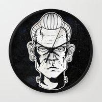 frankenstein Wall Clocks featuring Frankenstein by Diseños Fofo